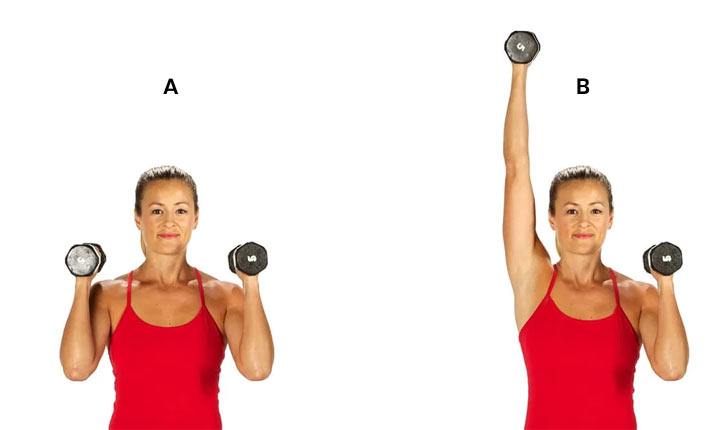 Single-Arm Press core strengthening exercise