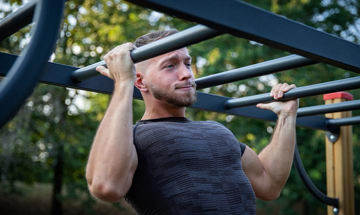 Walk up to the nearest playground to do your rounds of pull-up