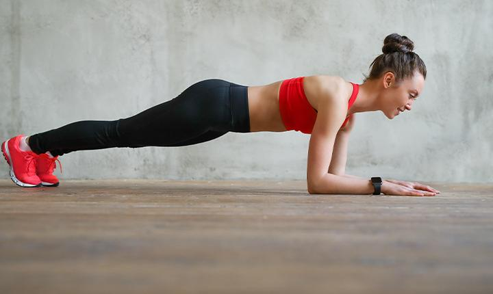 Planks- five-minute workout session